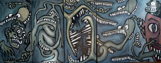 Aquarium of Emotions - Acrylic on canvas - 6 pieces of 18 x 36 inches -